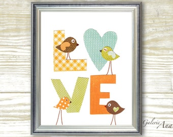 Nursery Art Baby Nursery Wall Art Kids room Decor Children's art orange green nursery Bird nursery Kids wall art - LOVE print