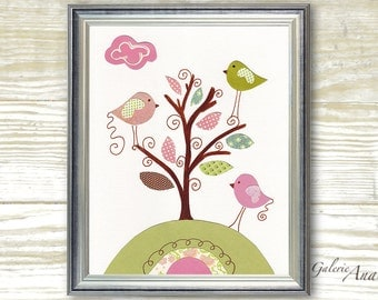 Kids wall art baby girls nursery decor pink and green personalized art decor tree nursery birds nursery - Playing In The Wind