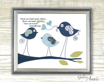 Baby nursery art - baby nursery decor - nursery wall art - Kids art - nursery bird - kids room decor - First we had each other print