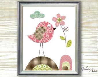 Bird Nursery Decor Kids wall art - baby nursery decor - nursery wall art - nursery bird - nursery kids - Pink - Blooming print