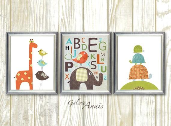 Baby room decor - nursery print - Boy nursery decor - elephant giraffe bird  alphabet playroom art- Set of three prints