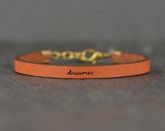 dreamer - adjustable leather bracelet  (additional colors available)