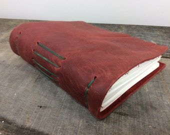 Reclaimed leather journal with recycled sketchpaper