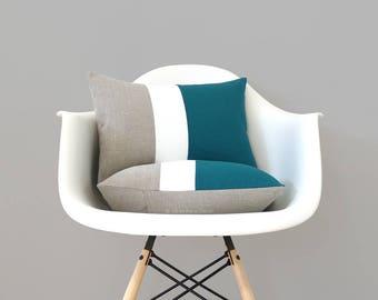 Teal & Cream Color Block Pillow (Set of 2) Modern Home Decor by JillianReneDecor | Minimal | Linen Colorblock Pillow | Mid Century