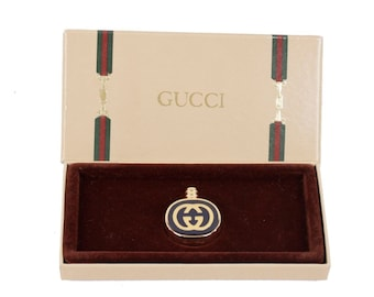 Authentic GUCCI VINTAGE Blue and Gold Metal ENAMEL Mini perfume bottle w/ box