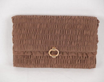 Authentic GUCCI VINTAGE Brown Goffered Fabric CLUTCH Handbag evening bag