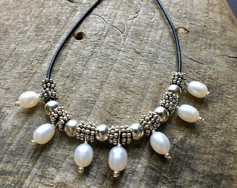 Pearl Necklace, Pearl Leather Necklace, Pearl Statement Necklace, June Birthstone