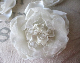 Handmade fabric rose flower rosette clip singed white satin and chiffon for hair, home decor, clothing, wedding accessory