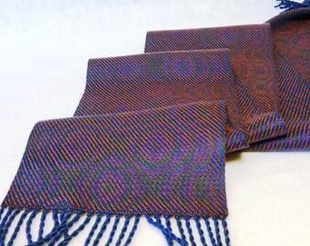 Handwoven Tencel Scarf, Tencel Scarf, Woven Scarf, Handwoven Scarf, Echo Weave Peacock Scarf, Peacock - #17-12A