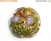 ON SALE 50% OFF Antique Garden Lentil Focal Bead - Handmade Glass Lampwork Bead 11815002