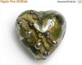 ON SALE 45% OFF Green w/Silver Foil Heart Focal Bead - Handmade Glass Lampwork Bead 11813905