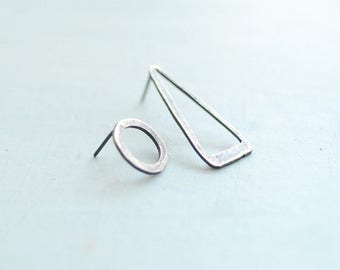 Triangle Circle Earrings, Mismatched Studs, Wearable Art Jewelry