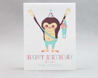 Letterpress Birthday Card, My Little Beast (girl)