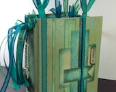 Teal Blue Green Altered Hardcover Book Junk Journal Bullet Journal Gratitude Journal