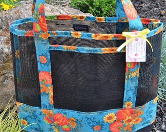 Tote Bag Fall Harvest Pumpkin Print Fabric and Vinyl Mesh Tote Bag