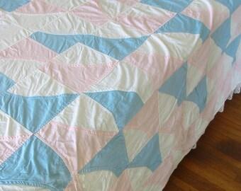 Vintage Pink Quilt, Vintage Light Blue Quilt, Scrap Quilt, Girl Quilt, Full Double Quilt, Twin Quilt, Crazy Quilt, Vintage Pink Bedspread