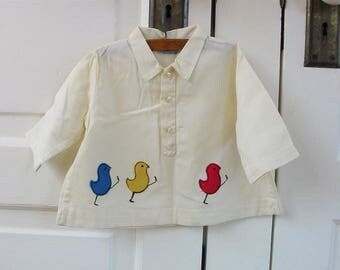 Vintage Child Shirt, Vintage Girl Shirt, Vintage Boy Shirt, Child Bird Shirt, Nannekins Shirt, Vintage Bird Shirt, 12 Month, Unisex Shirt