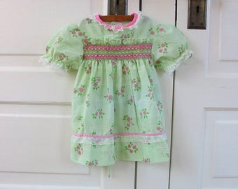 Vintage Girl Dress, Girl Pink Green Dress, Smocking Dress, 12 Month Dress, Girl Easter Dress, 12 Month Smocked Dress, 12 Month Floral Dress,