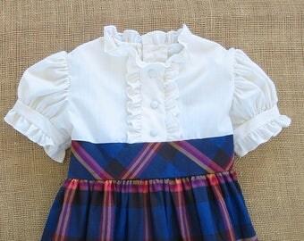 Vintage Girl Plaid Dress, Red Blue Plaid Girl Dress, Girl Ruffled Dress, Cinderella Dress, Size 5 Dress, Vintage Plaid Dress, Ruffles Dress