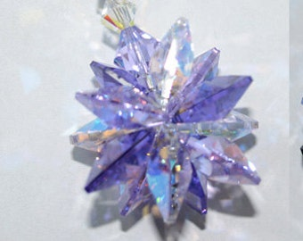 Choose Violet, Blue, or Green Rainbow Starburst Suncatcher Hanging Window Swarovski Crystal, Rearview Mirror Ornament, Star, for Home or Car