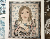 Girl in Schiaparelli, fashion portrait, original watercolor painting, miniature modern portraiture