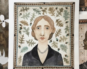 Virginia Woolf, portrait, original watercolor painting, miniature modern portraiture