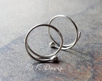 Sterling Silver Open Hoop Earrings Tiny Bud Simple Hoops, Dot Coil Earring, Choose Your Size, recycled eco friendly jewelry