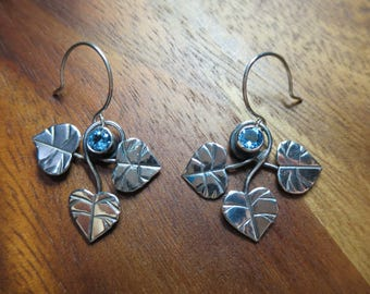 Sterling Silver Brutalist Triple Galax and Swiss blue Topaz