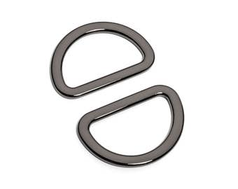 "10pcs - 1 1/4"" (32mm) Flat Zinc D-Ring - Black Nickel - (FDR-115) - Free Shipping"