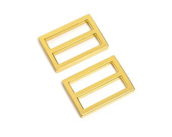 "30pcs - 1 1/4"" (32mm) Flat Diecast Slide Buckle - Gold - (FBK-113) - Free Shipping"
