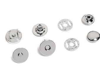 10pcs Half-Rivet Magnetic Purse Snaps 18mm - Nickel - Free Shipping (MAGNET SNAP MAG-222)