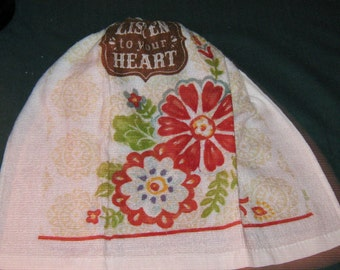 """One Kitchen Crochet hanging Towel """"Listen to your Heart"""", White top top"""