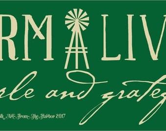 Primitive Stencil Farm Livin Simple and Grateful Stencil 10x24