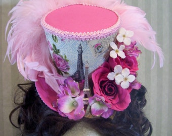 "Parisian Mini Top Hat, ""Eifel ToweR"" Alice in Wonderland Mini Mad Hatter top Hat, Kentucky Derby, Cosplay, Tea Party Hat, Steampunk Hat"