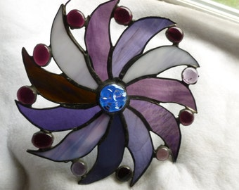 Moon Face Sun Pinwheel Stained Glass Art in purples