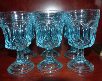 Vintage Turquoise Goblets Glasses - Aqua Blue Set of Six