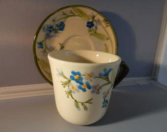 Franciscan Ware - Forget Me Knots - Cup and Saucer - Vintage Pottery - One or Set of 8 - Excellent Condition