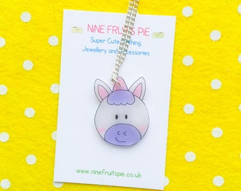 Kawaii Magical Unicorn necklace in pink and Lilac - medium size