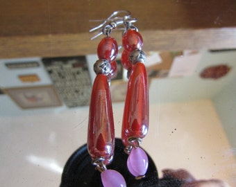 red pink glass dangles