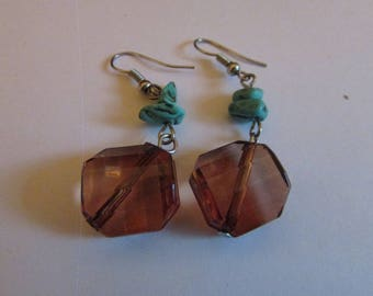 Brown turquoise dangles