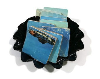 Eagles handmade wood coasters and vinyl bowl created from recycled 1972 self titled record album