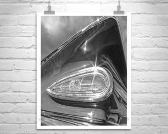 Chevrolet Picture, Tail Fins, Vintage Car Art, Chevy Impala, Car Photography, 50s Car Art, Car Picture, Black and White, Mid Century