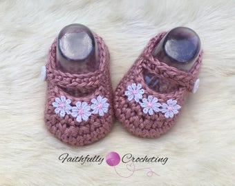 Newborn Mary Janes... dusty rose baby shoes.. baby girl booties... dress shoes.. ready to ship