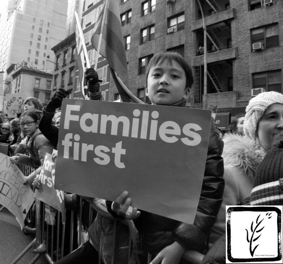Resist, #familiesfirst, New York, #nastywomen, B&W Photograph, fine art, photo print, wall art, home decor, protest, womens march