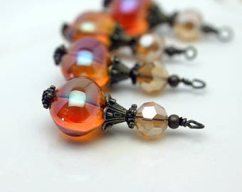 Golden Orange Blown Glass and Golden Crystal Pendant Bead Earring Dangle Pendant Charm Drop Set