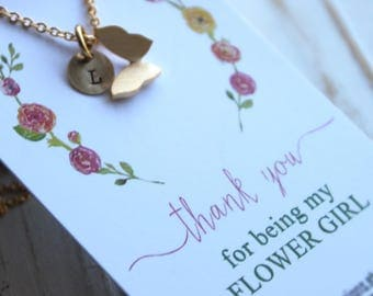 Free Shipping. Butterfly and initial custom necklace. Silver or Gold. Thank you for being my flower girl. Wedding.