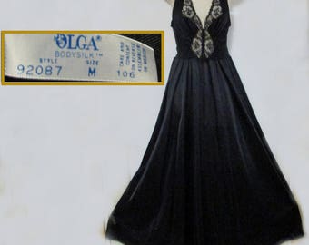 vintage 80s black olga nightgown size medium