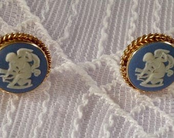 Vintage Angel Wedgewood Earrings made by Van Dell for pierced ears in gold fill,very good condition
