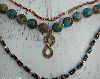 Infinity Oroborous Necklace - Primitive Boho Chic - Multstrand Gemstone Necklace - Turquoise - Copper - OOAK One of a kind- READY To SHIP