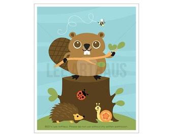 86A Woodland Animal Art - Beaver Wall Art - Beaver Print - Beaver Poster - Beaver Art - Woodland Boy Nursery - Woodland Nursery Wall Decor